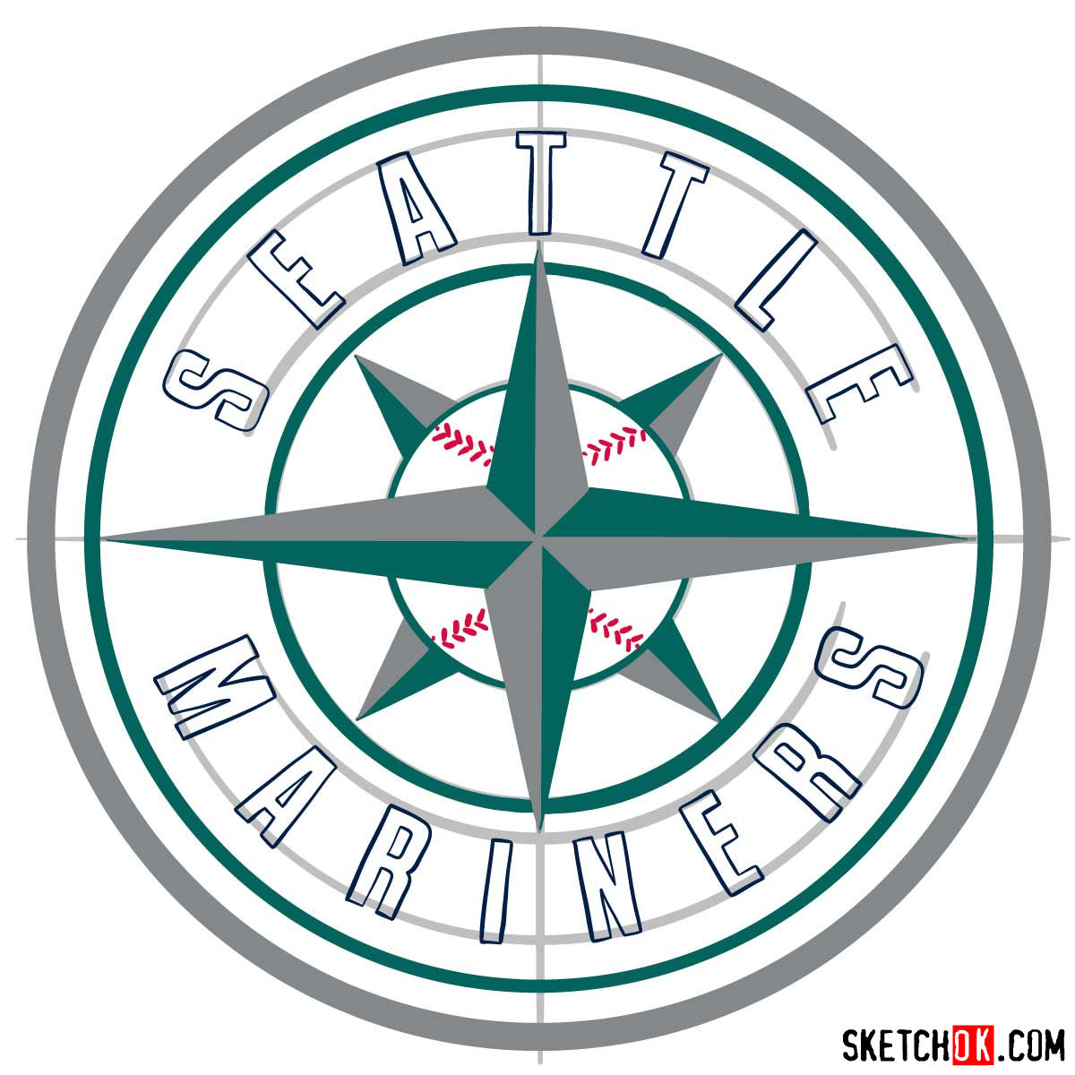 How to draw Seattle Mariners logo | MLB logos - step 12