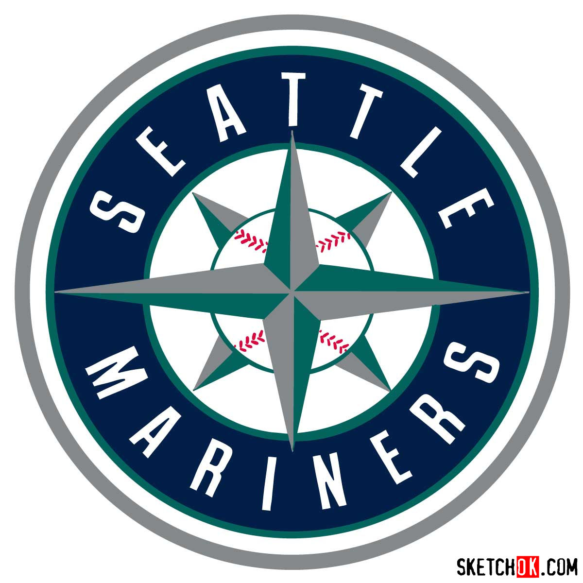 How to draw Seattle Mariners logo | MLB logos - coloring