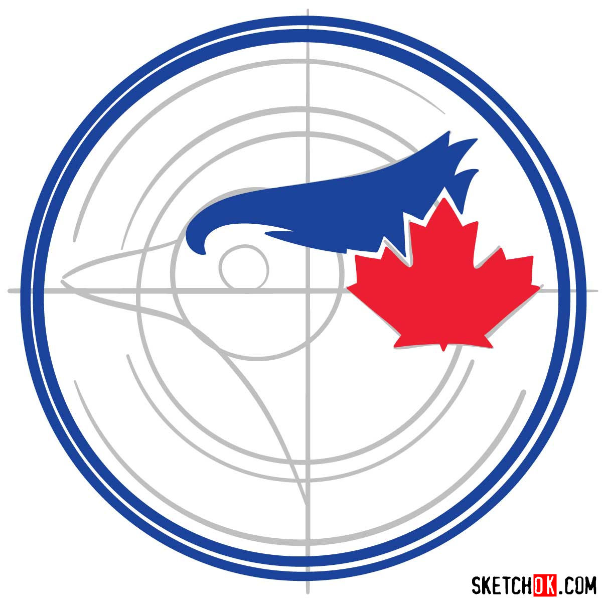 How to draw Toronto Blue Jays logo | MLB logos - step 05