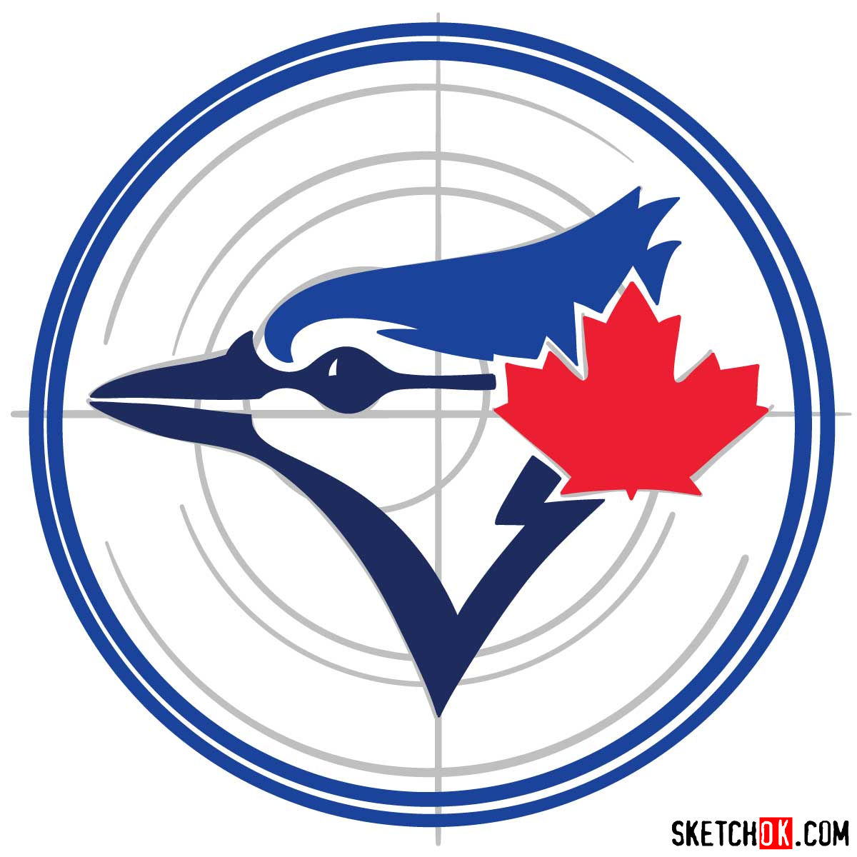 How to draw Toronto Blue Jays logo | MLB logos - step 06