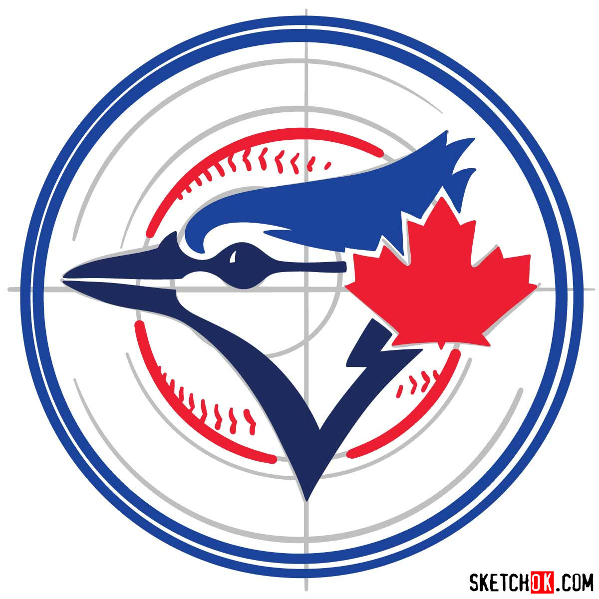 How to draw Toronto Blue Jays logo | MLB logos - step 07