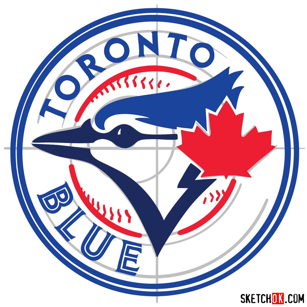How to draw Toronto Blue Jays logo | MLB logos - step 09