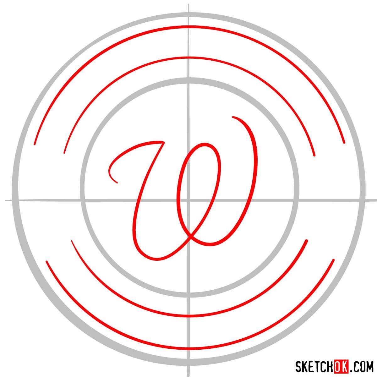 How to draw Washington Nationals logo   MLB logos - step 02