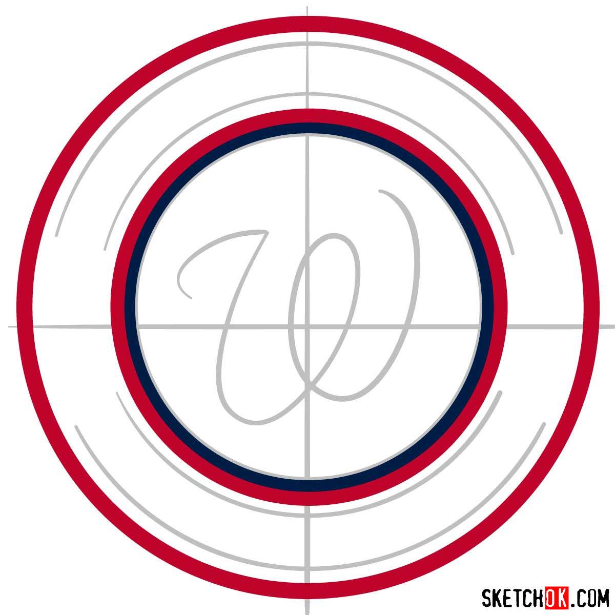 How to draw Washington Nationals logo   MLB logos - step 03