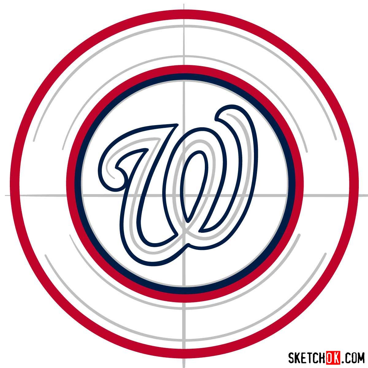 How to draw Washington Nationals logo   MLB logos - step 04