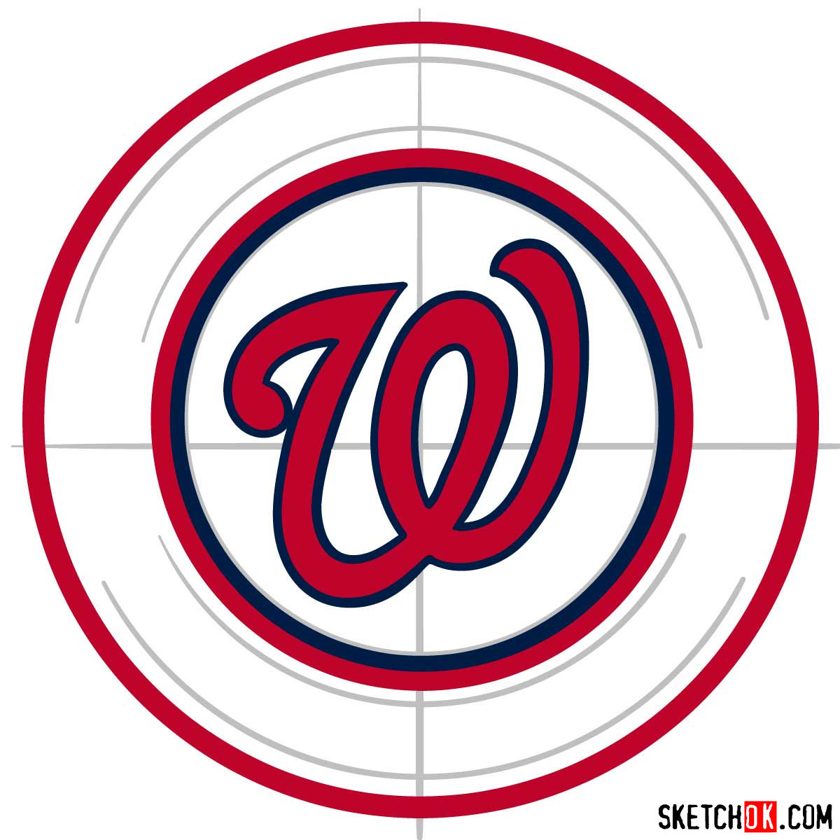 How to draw Washington Nationals logo   MLB logos - step 05
