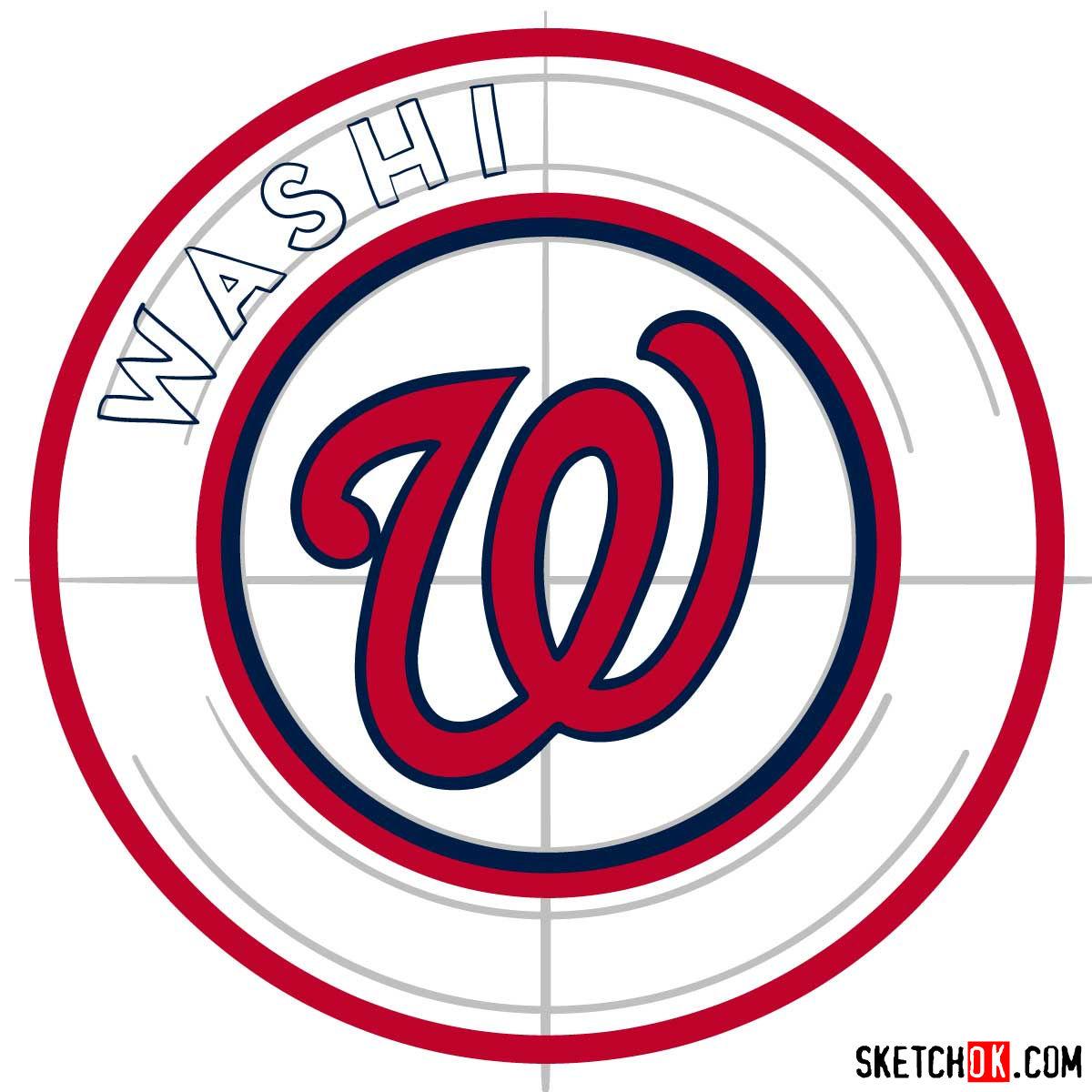 How to draw Washington Nationals logo   MLB logos - step 06