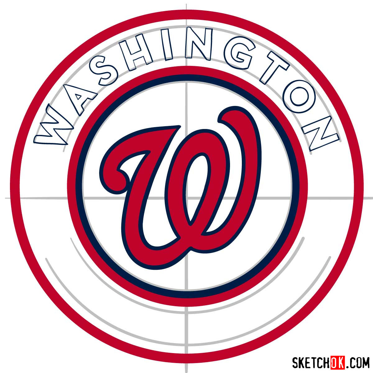 How to draw Washington Nationals logo   MLB logos - step 07
