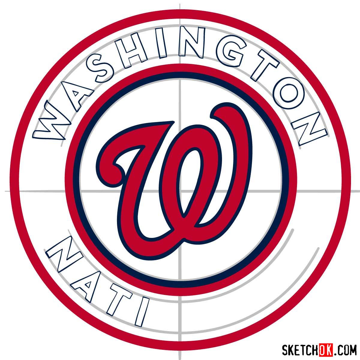 How to draw Washington Nationals logo   MLB logos - step 08