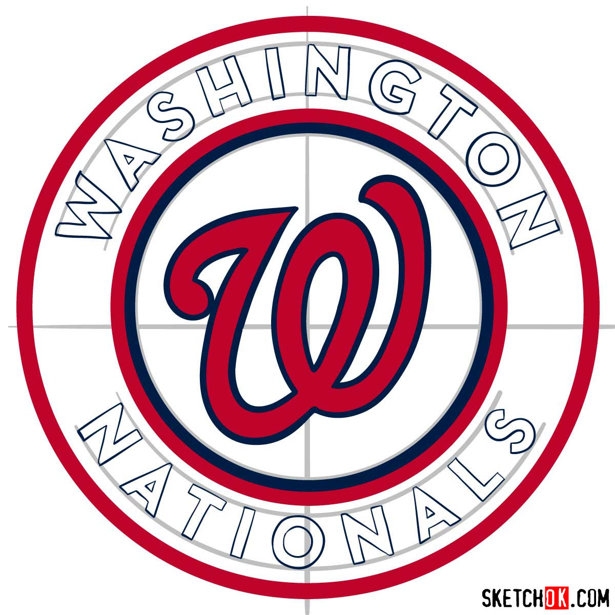 How to draw Washington Nationals logo   MLB logos - step 09
