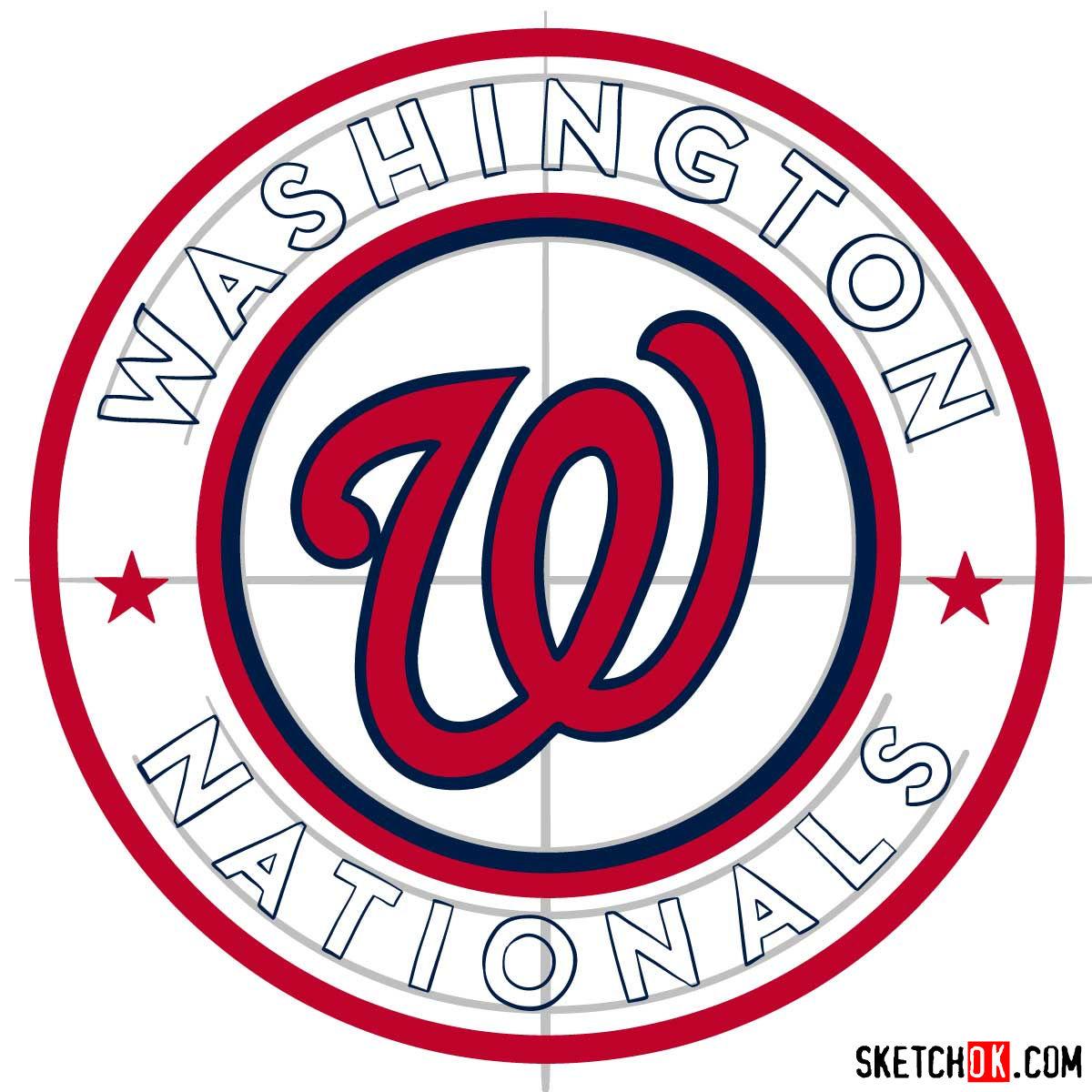 How to draw Washington Nationals logo   MLB logos - step 10