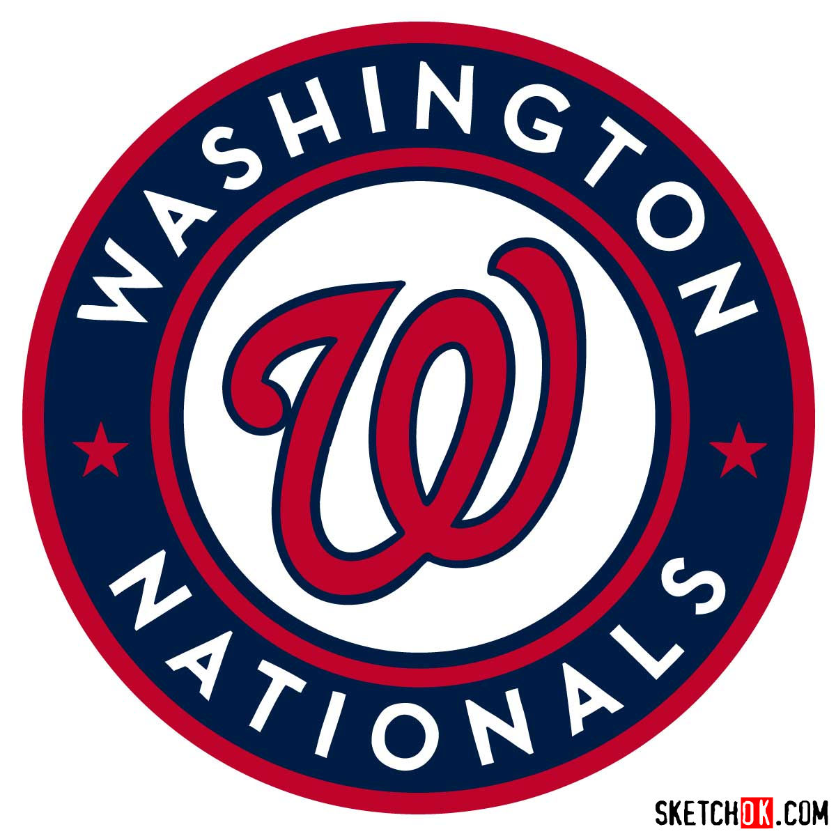 How to draw Washington Nationals logo | MLB logos