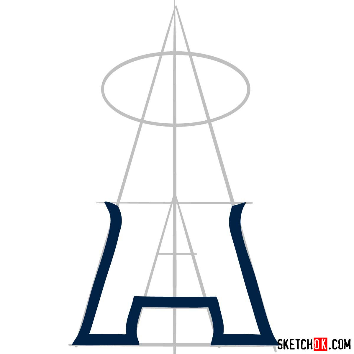 How to draw Los Angeles Angels logo | MLB logos - step 03