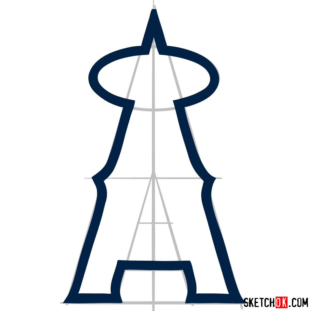How to draw Los Angeles Angels logo | MLB logos - step 04