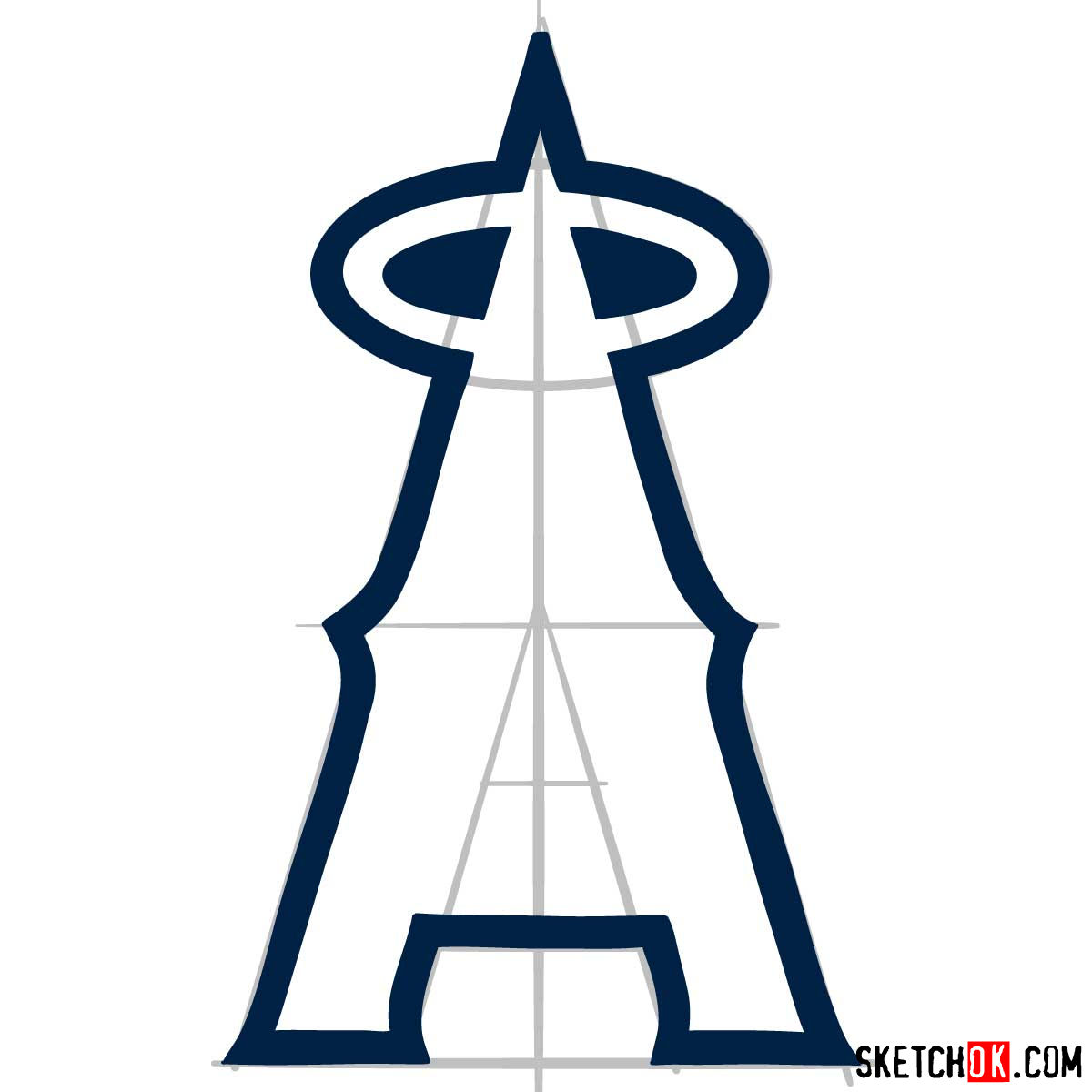 How to draw Los Angeles Angels logo | MLB logos - step 05