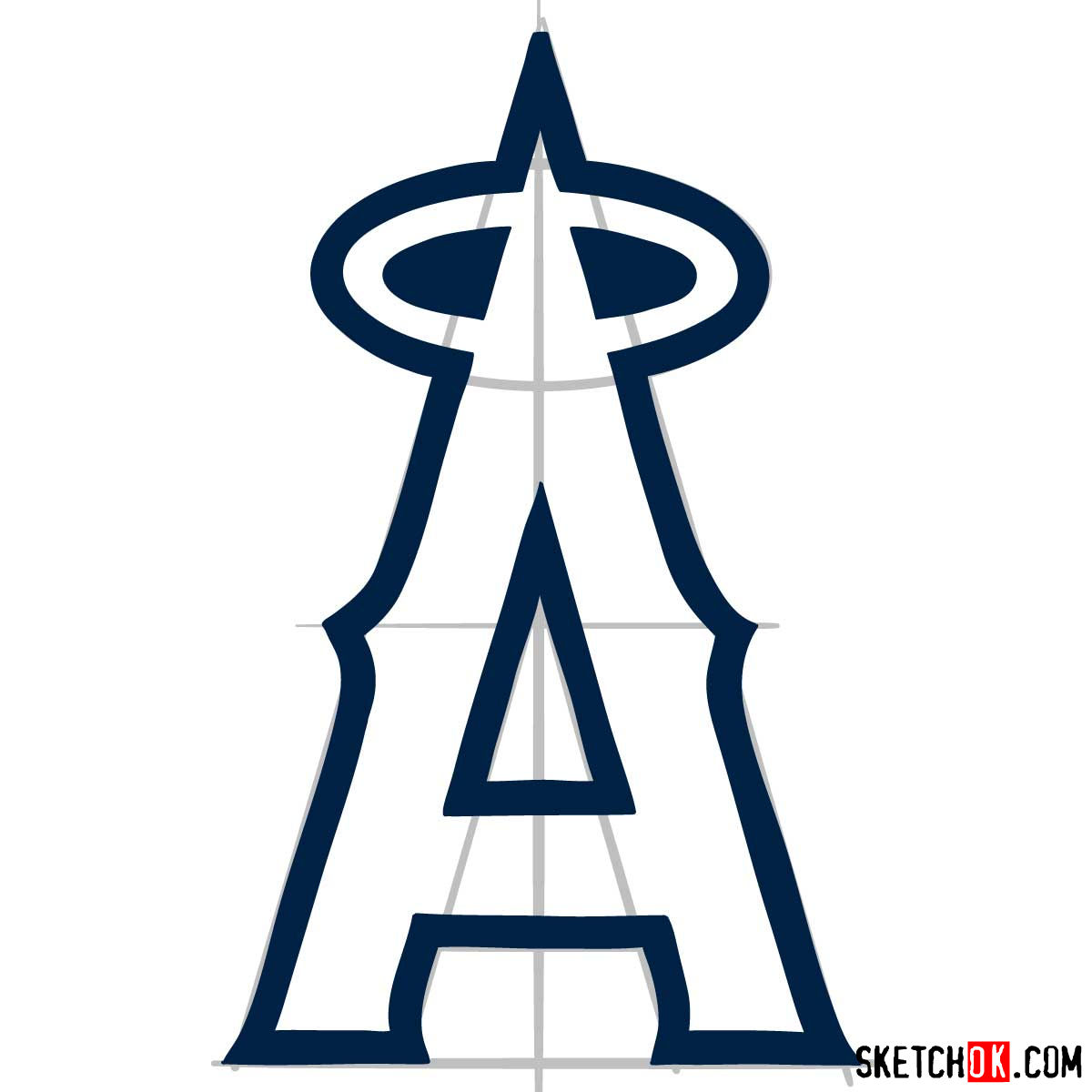 How to draw Los Angeles Angels logo | MLB logos - step 06