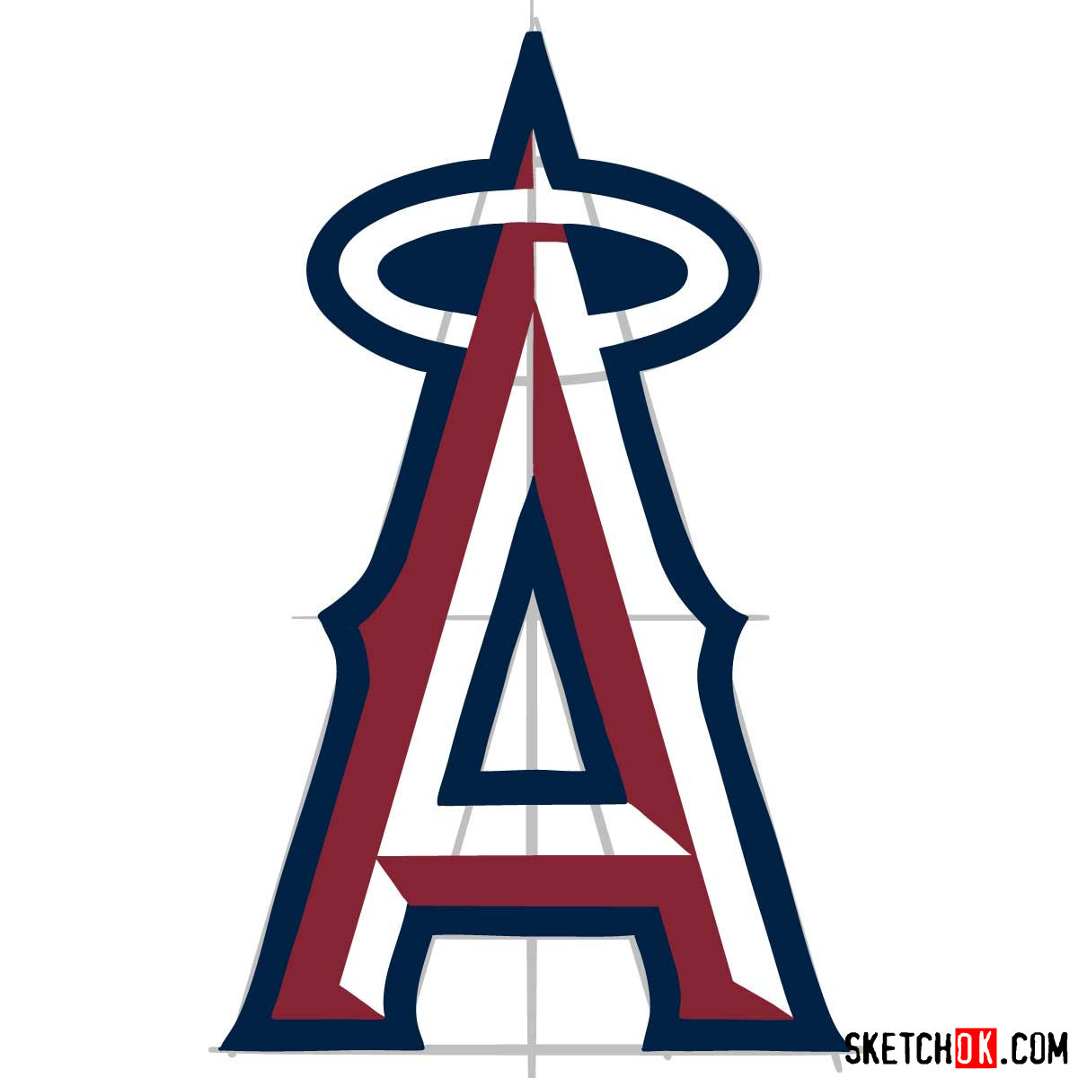 How to draw Los Angeles Angels logo | MLB logos - step 08