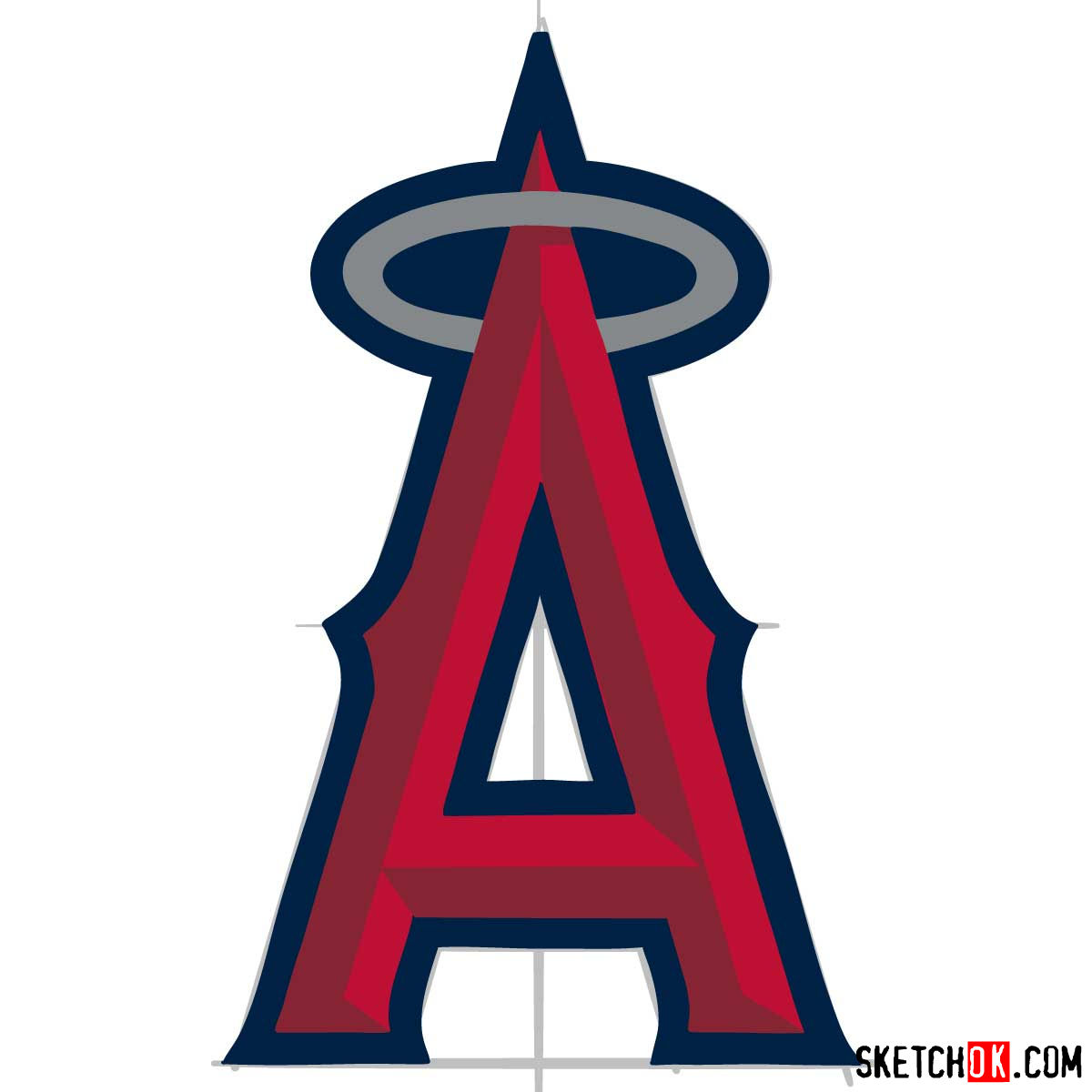 How to draw Los Angeles Angels logo | MLB logos - step 09