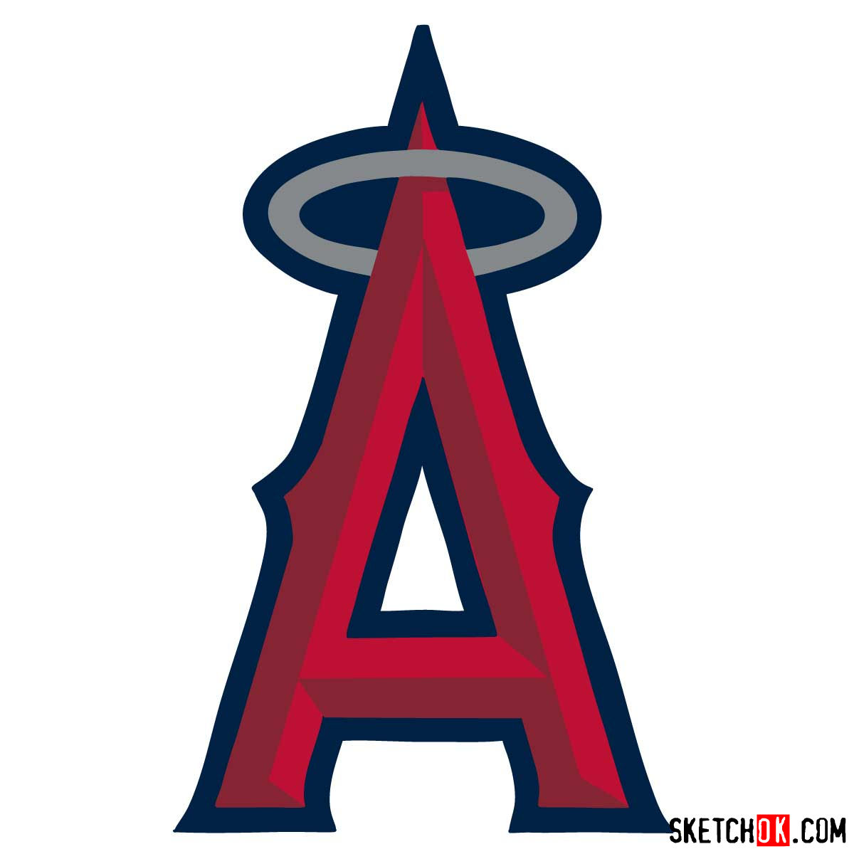 How to draw Los Angeles Angels logo | MLB logos - coloring