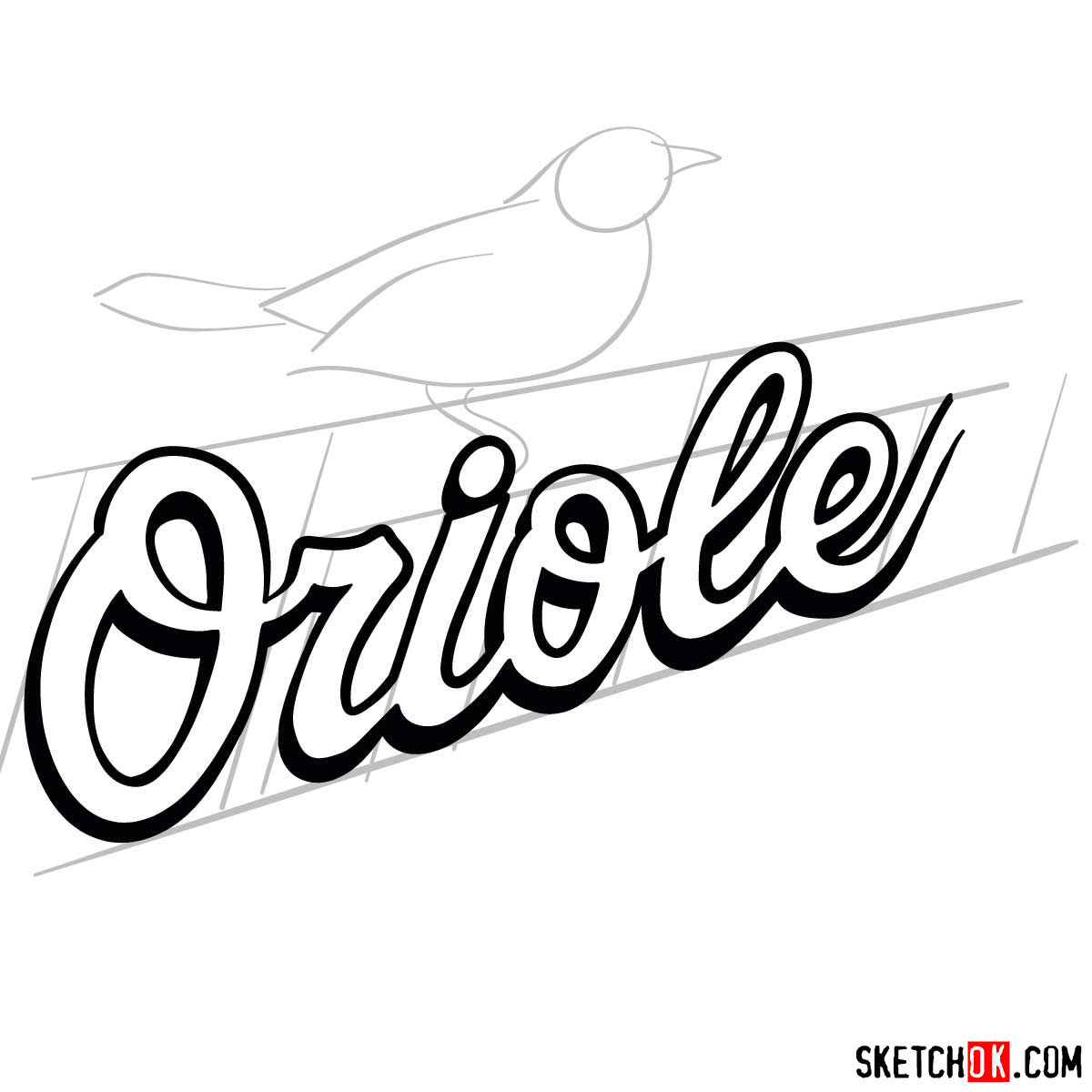 How to draw Baltimore Orioles logo | MLB logos - step 05