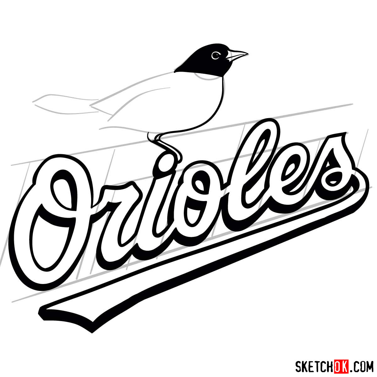 How to draw Baltimore Orioles logo | MLB logos - step 08