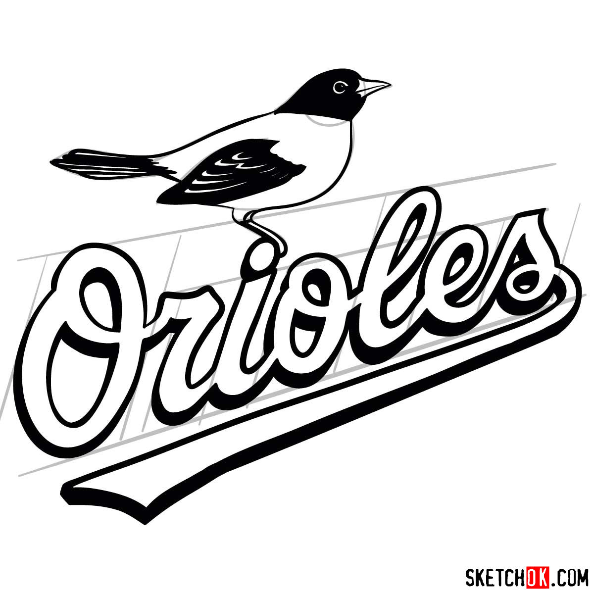How to draw Baltimore Orioles logo | MLB logos - step 10
