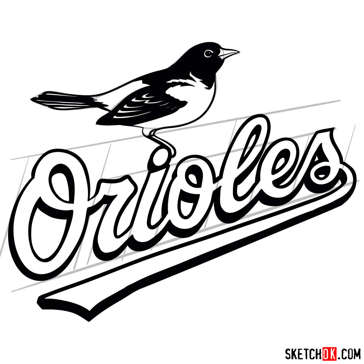 How to draw Baltimore Orioles logo | MLB logos - step 11