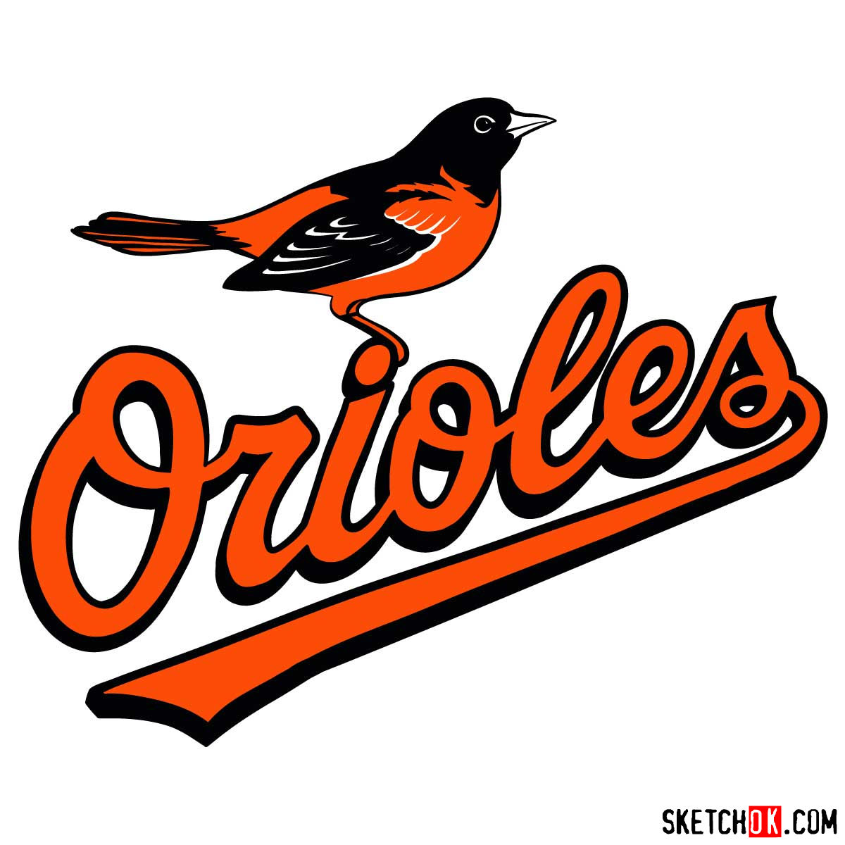How to draw Baltimore Orioles logo | MLB logos