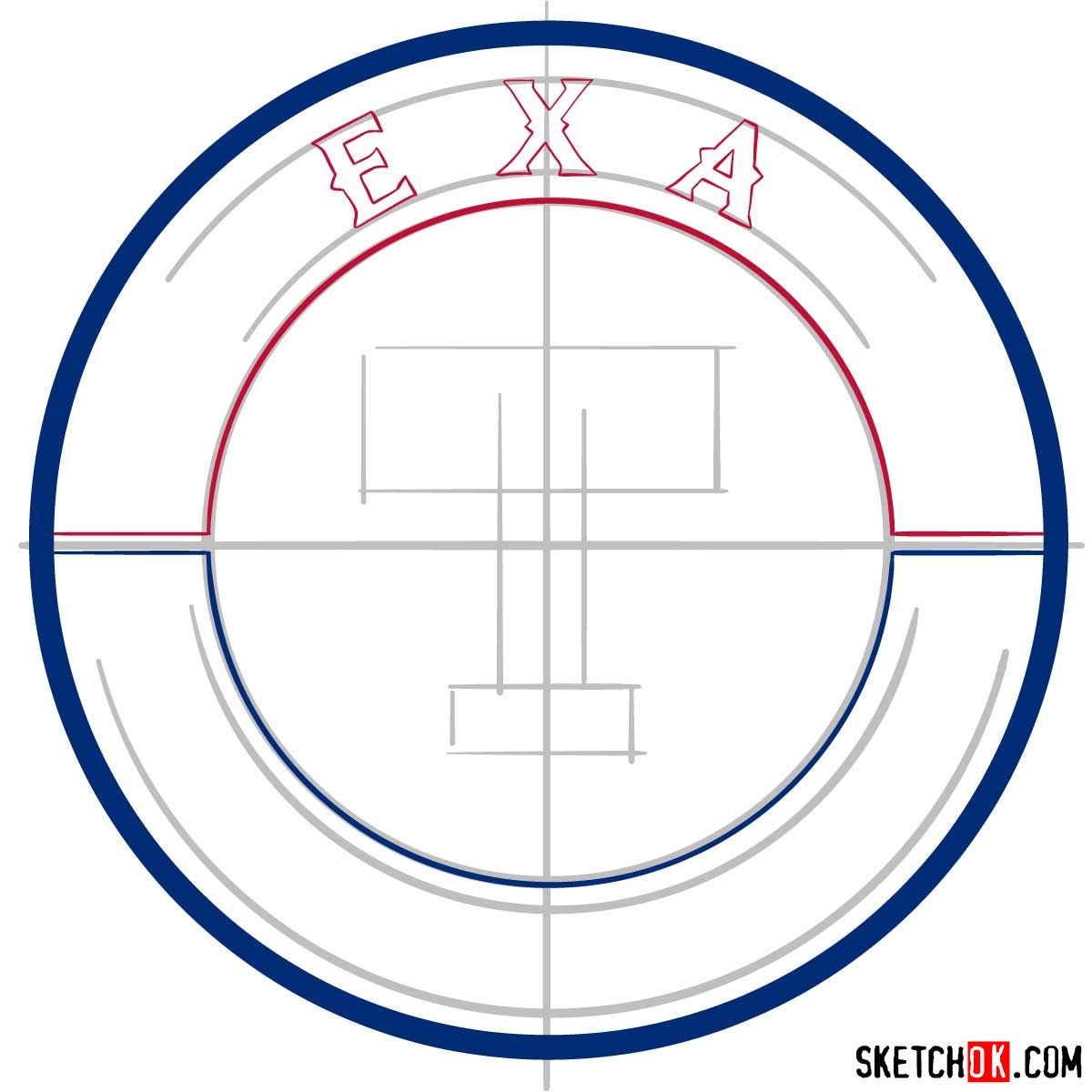 How to draw Texas Rangers logo | MLB logos - step 04
