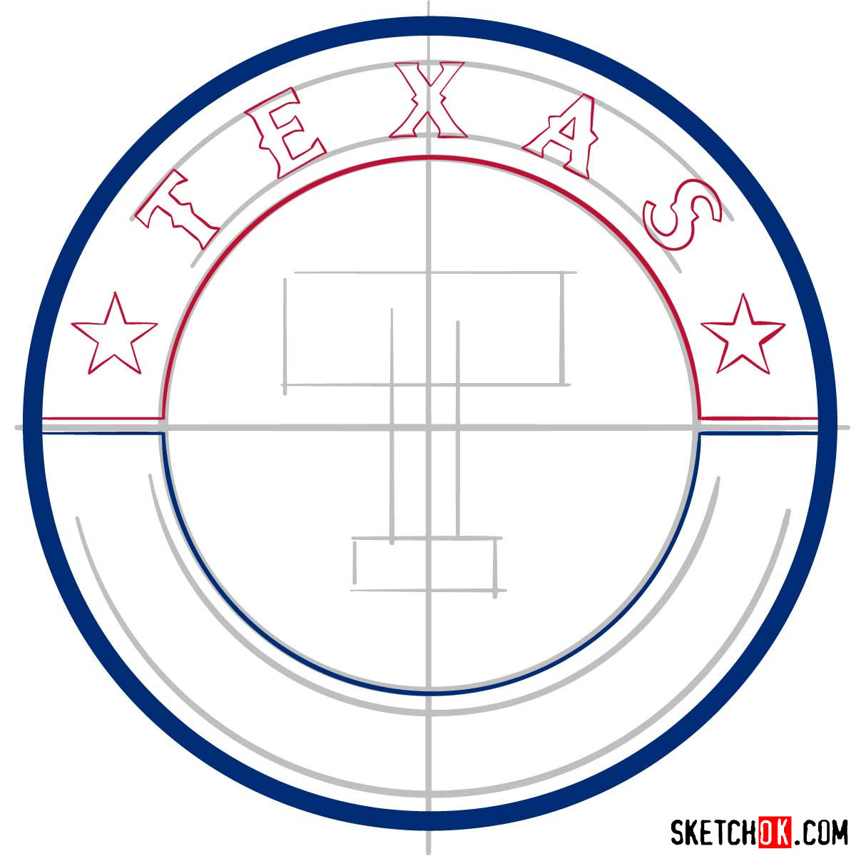 How to draw Texas Rangers logo | MLB logos - step 05