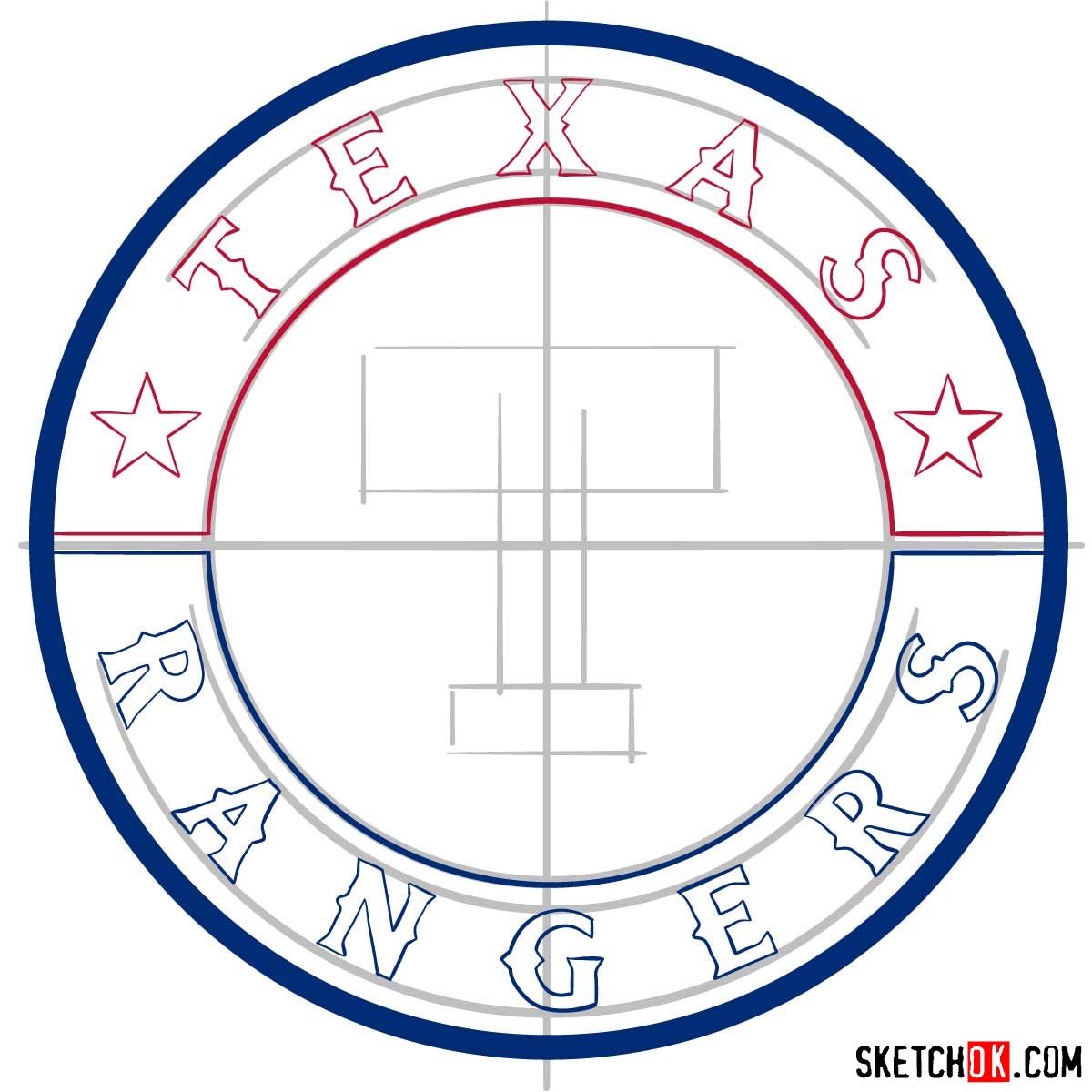 How to draw Texas Rangers logo | MLB logos - step 07