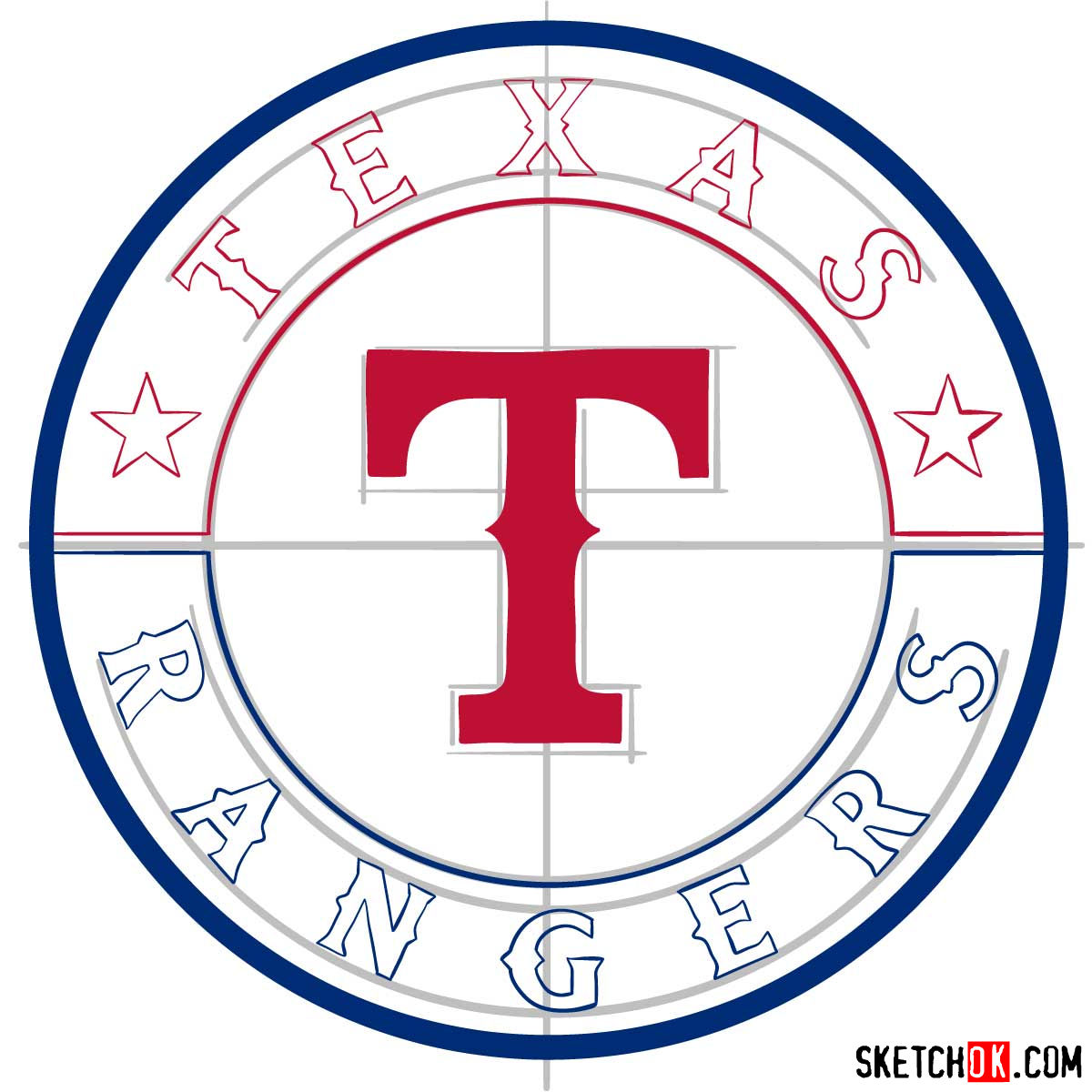 How to draw Texas Rangers logo | MLB logos - step 08