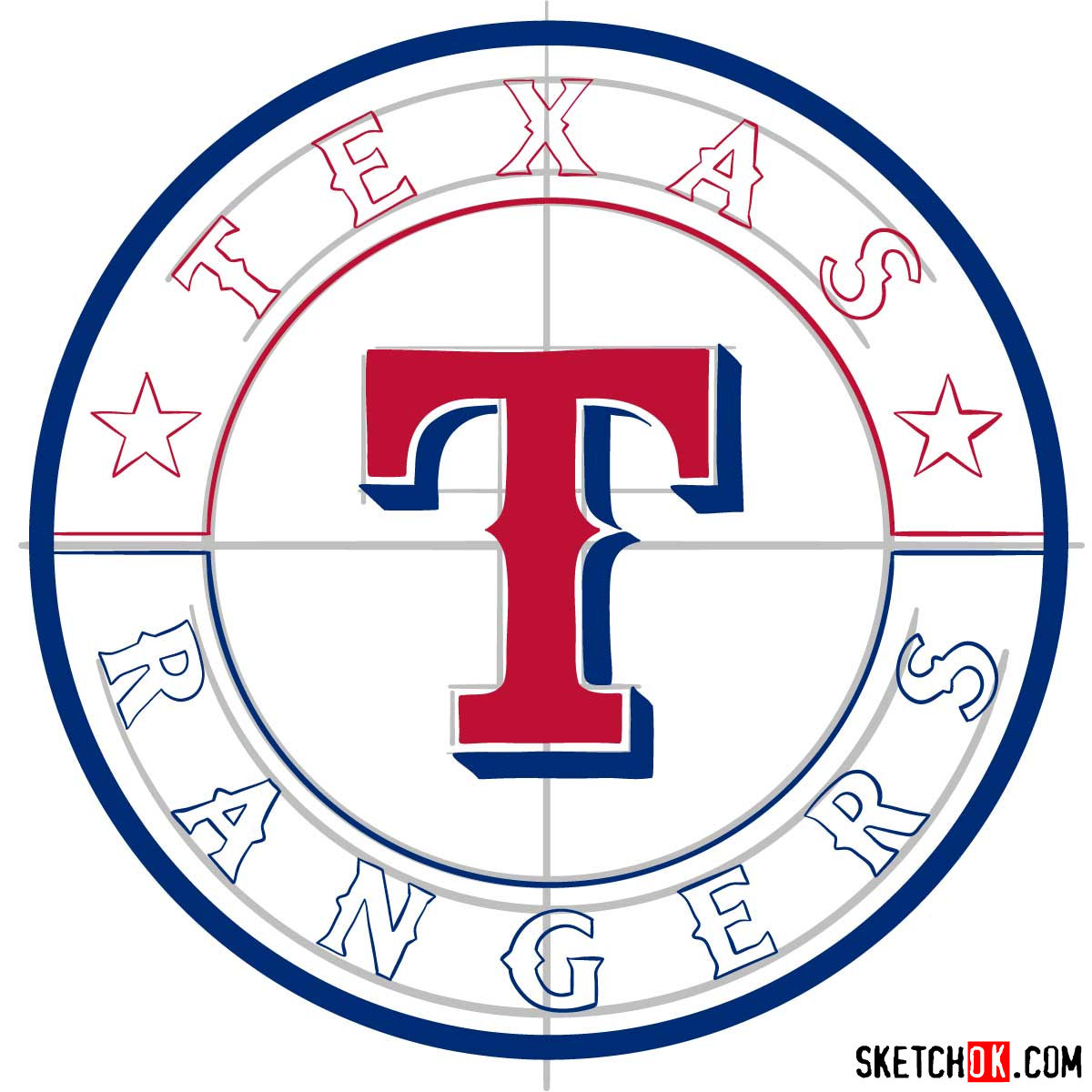 How to draw Texas Rangers logo | MLB logos - step 09