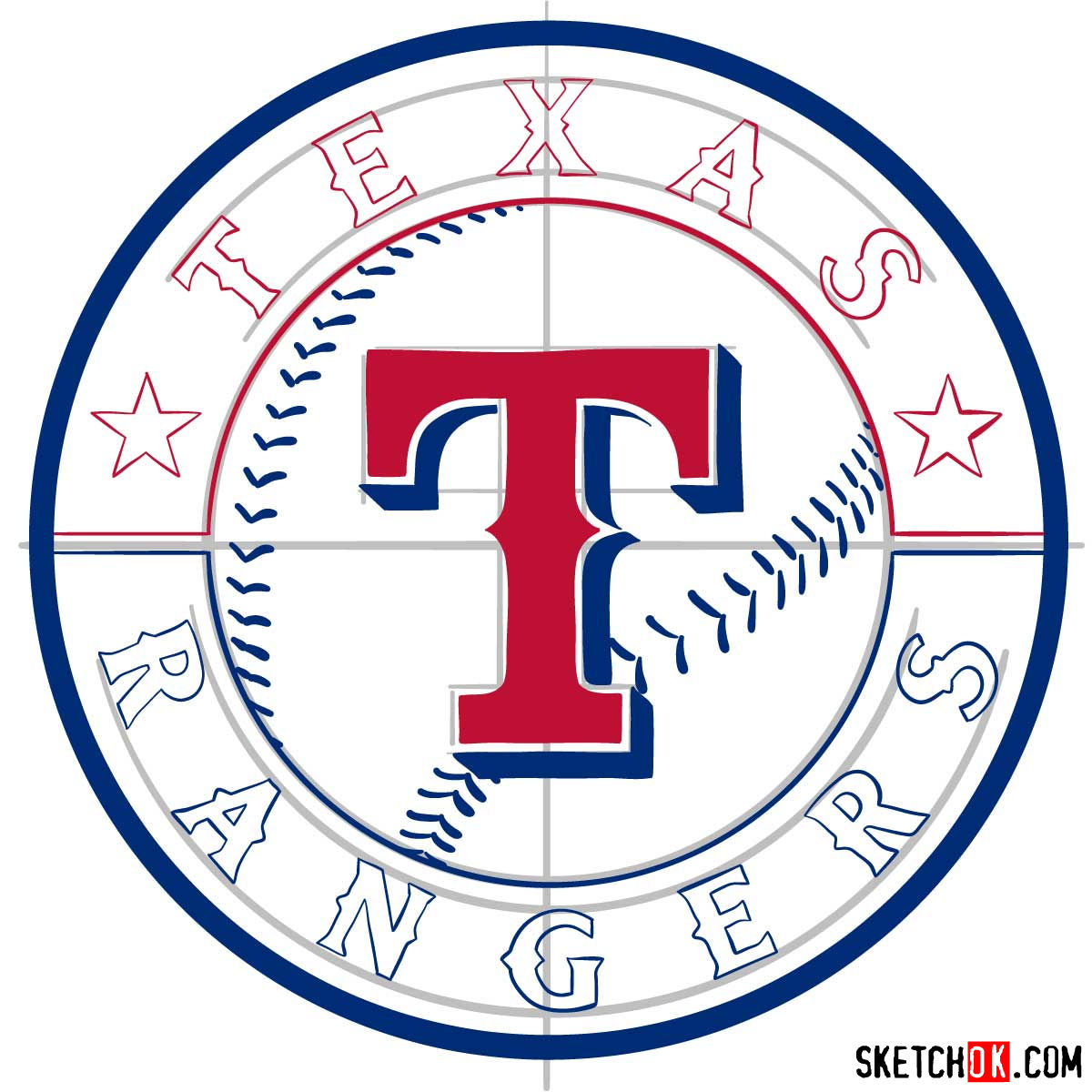 How to draw Texas Rangers logo | MLB logos - step 10