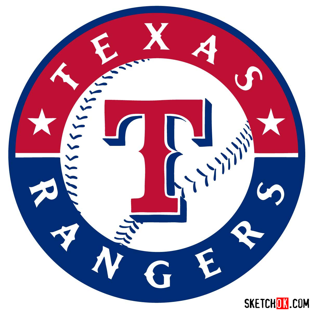 How to draw Texas Rangers logo | MLB logos - coloring