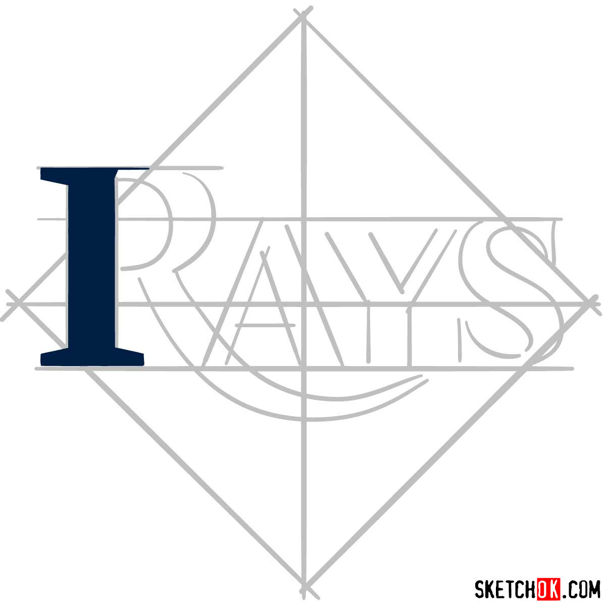 How to draw Tampa Bay Rays logo | MLB logos - step 03