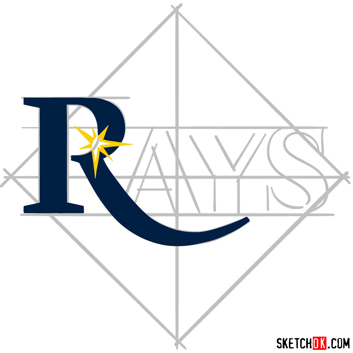How to draw Tampa Bay Rays logo | MLB logos - step 04