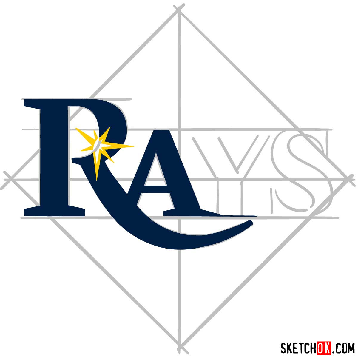 How to draw Tampa Bay Rays logo | MLB logos - step 05