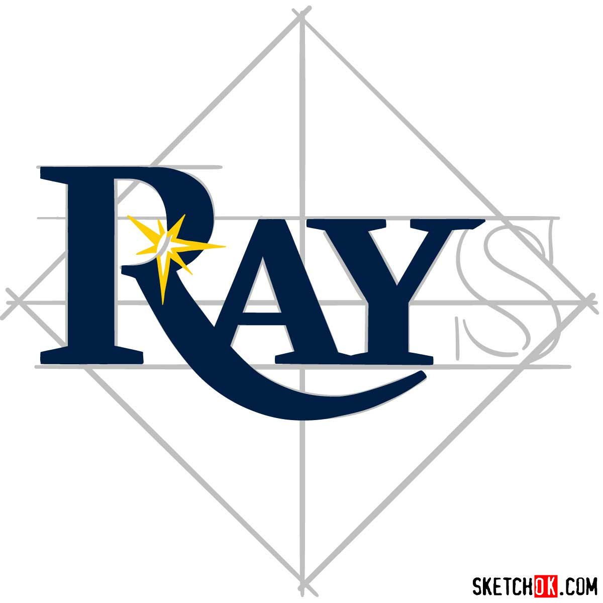 How to draw Tampa Bay Rays logo | MLB logos - step 06