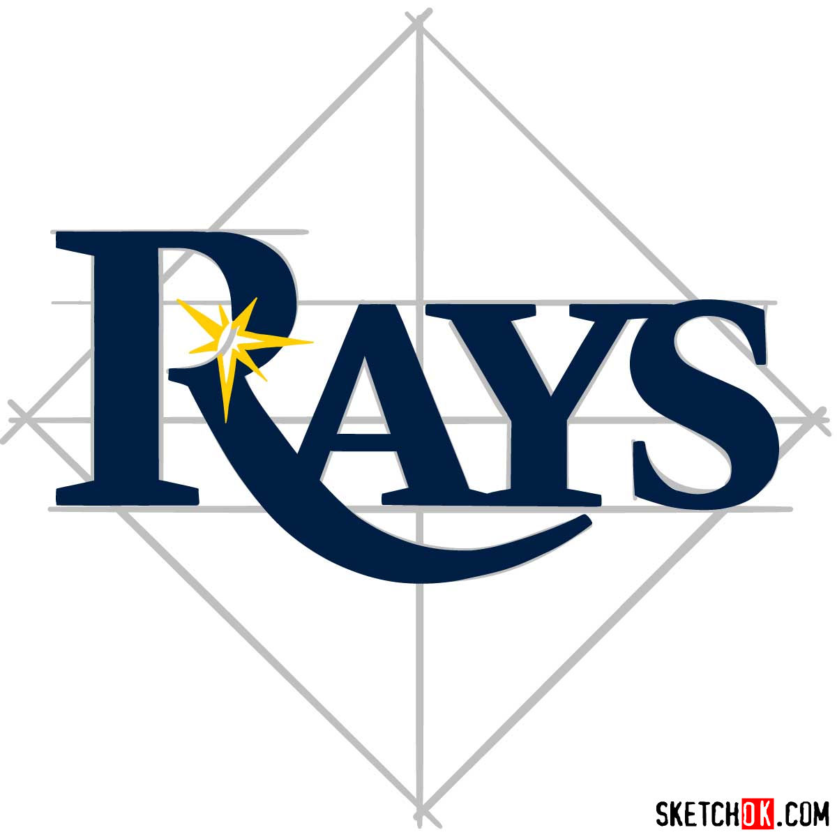 How to draw Tampa Bay Rays logo | MLB logos - step 07