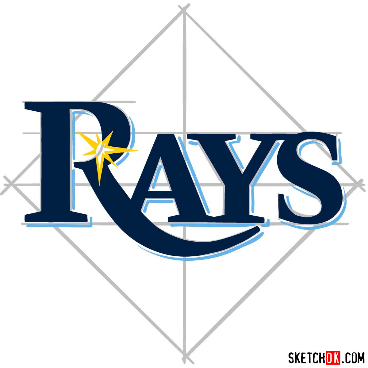 How to draw Tampa Bay Rays logo | MLB logos - step 08