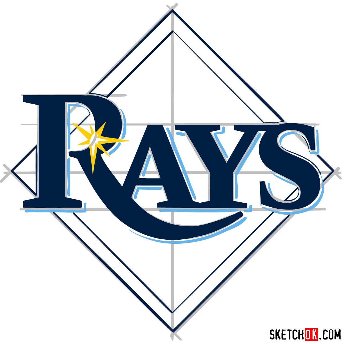 How to draw Tampa Bay Rays logo | MLB logos - step 09