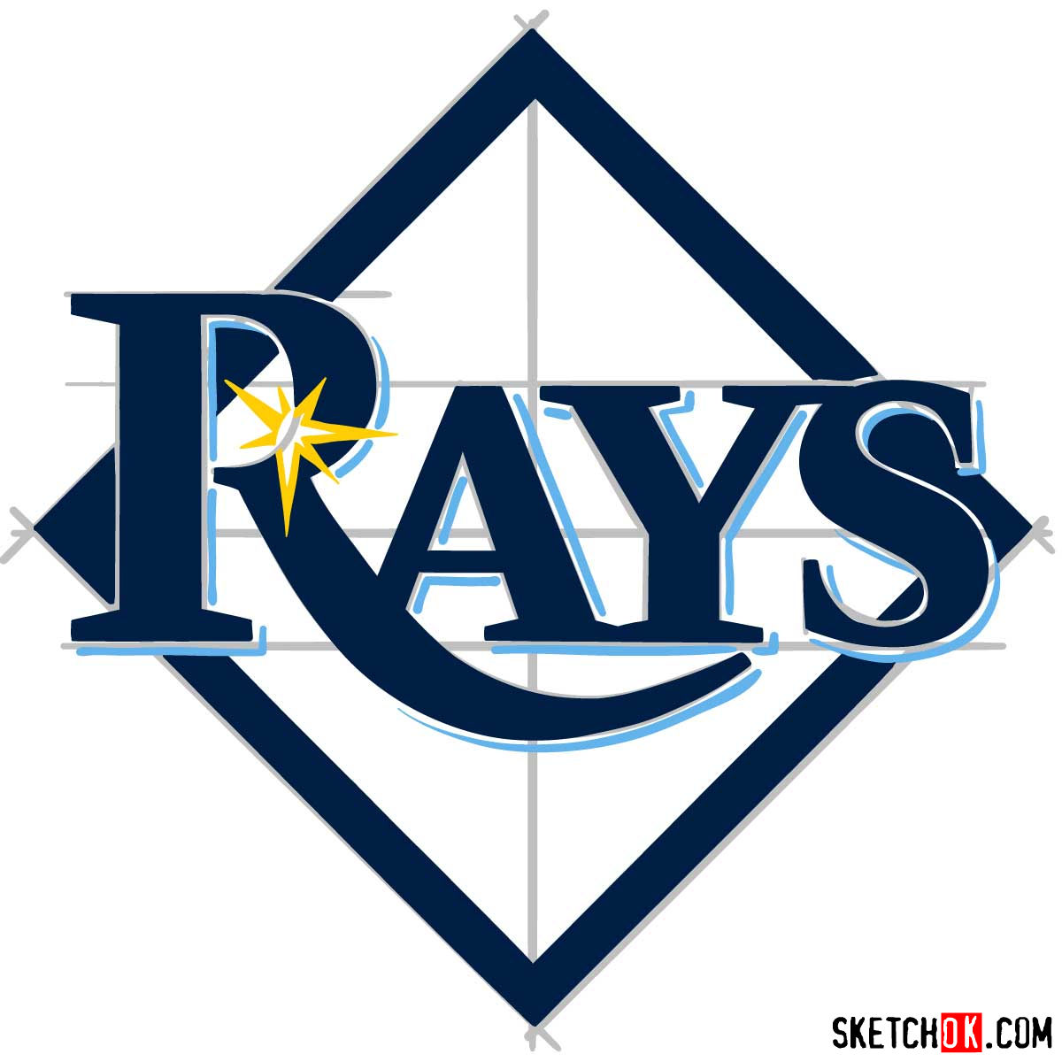 How to draw Tampa Bay Rays logo | MLB logos - step 10