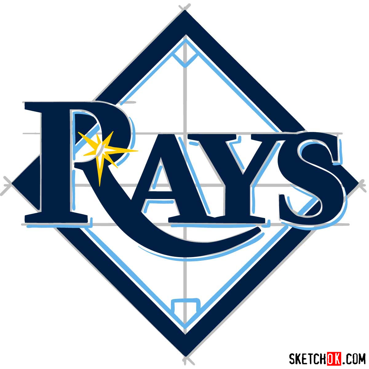 How to draw Tampa Bay Rays logo | MLB logos - step 11
