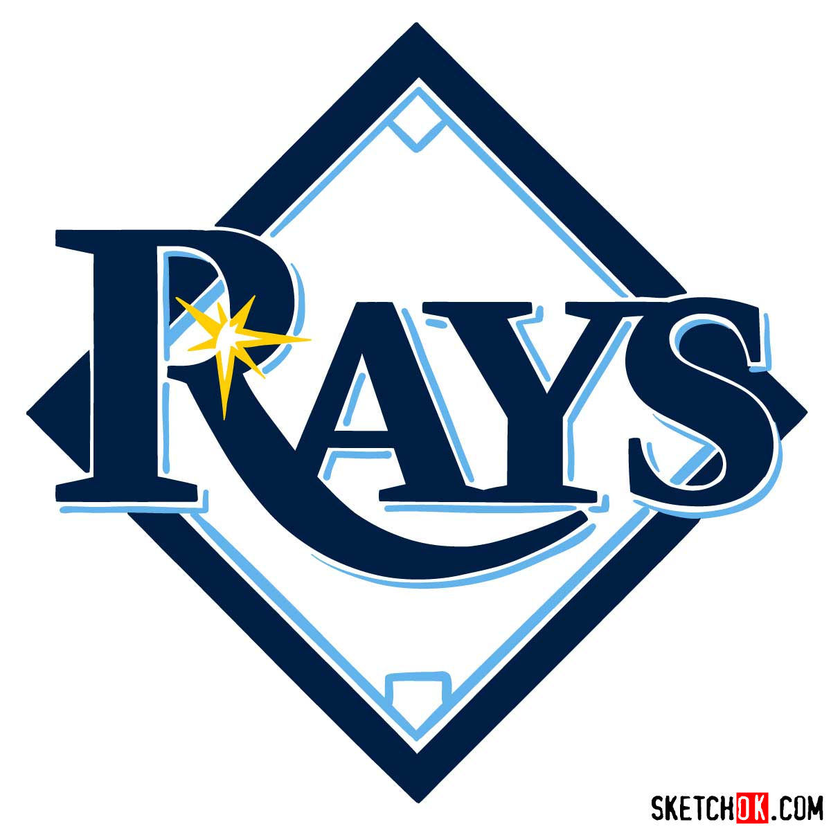 How to draw Tampa Bay Rays logo | MLB logos - coloring