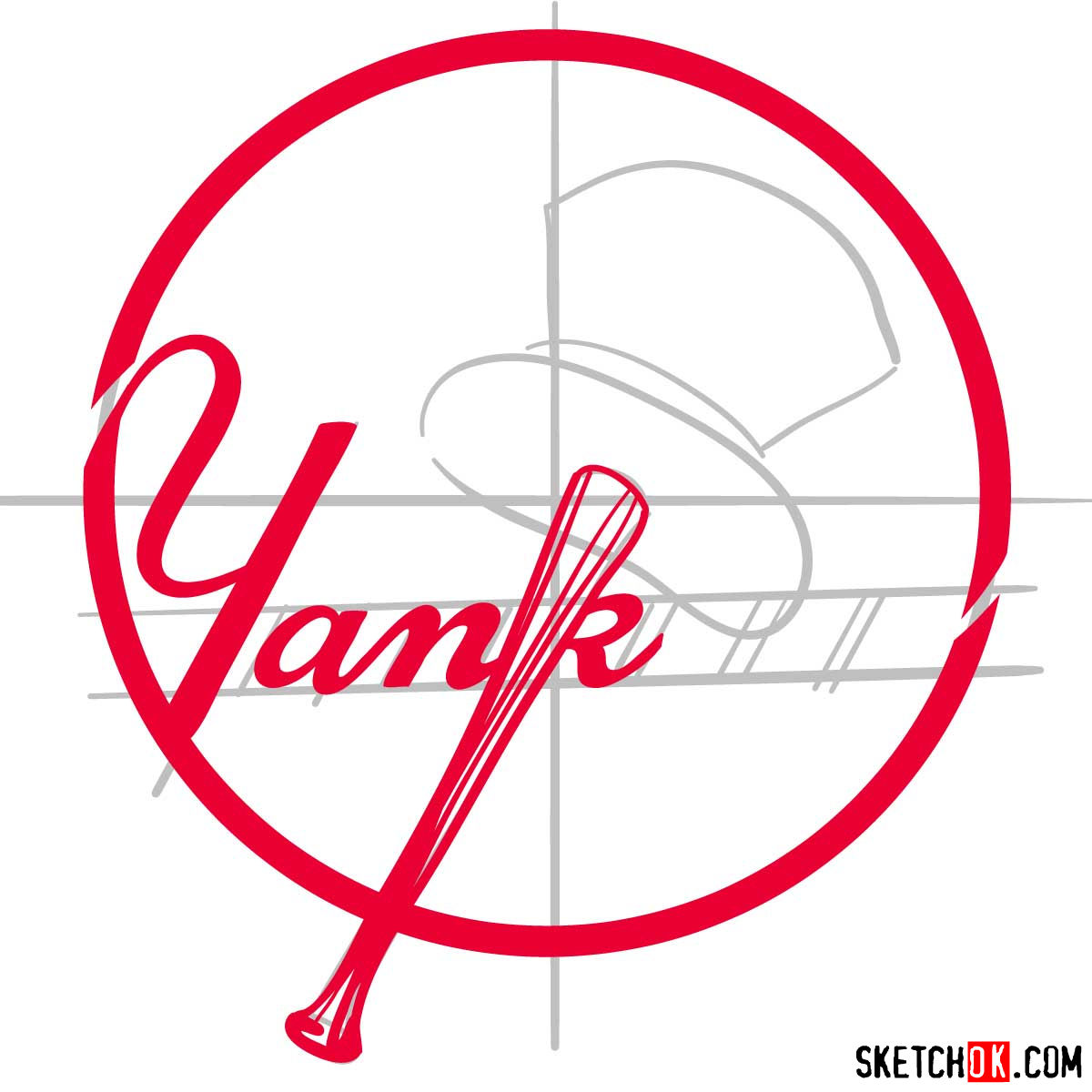 How to draw New York Yankees logo | MLB logos - step 06
