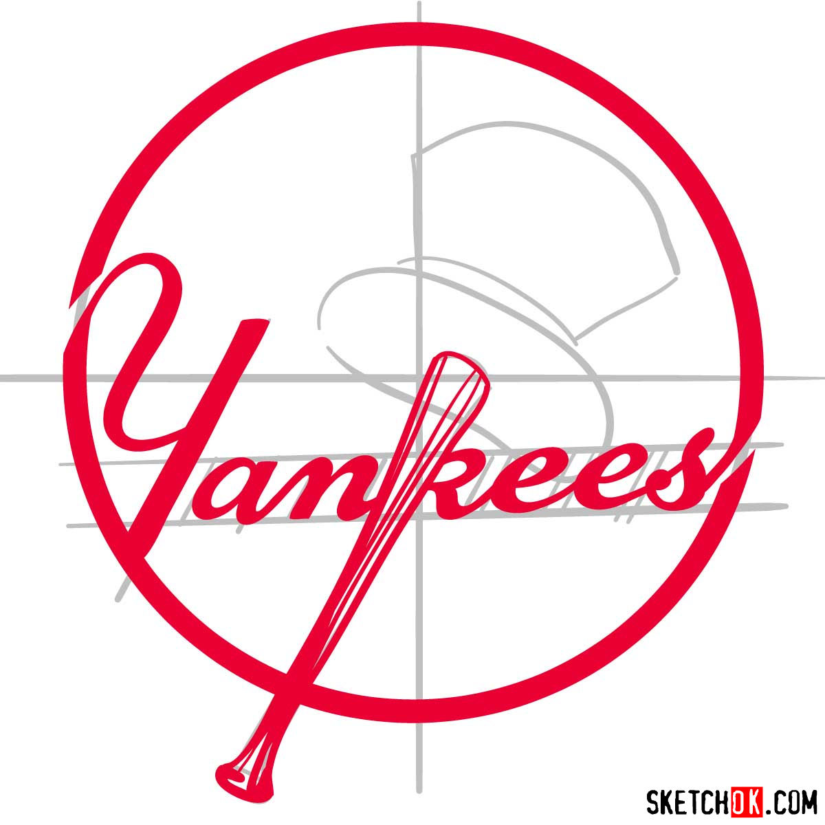 How to draw New York Yankees logo | MLB logos - step 08