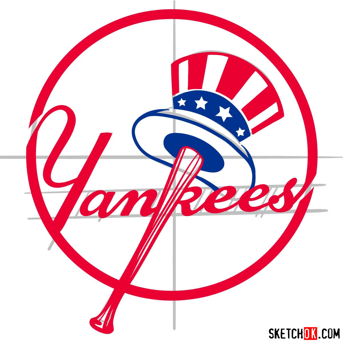 How to draw New York Yankees logo | MLB logos - step 11