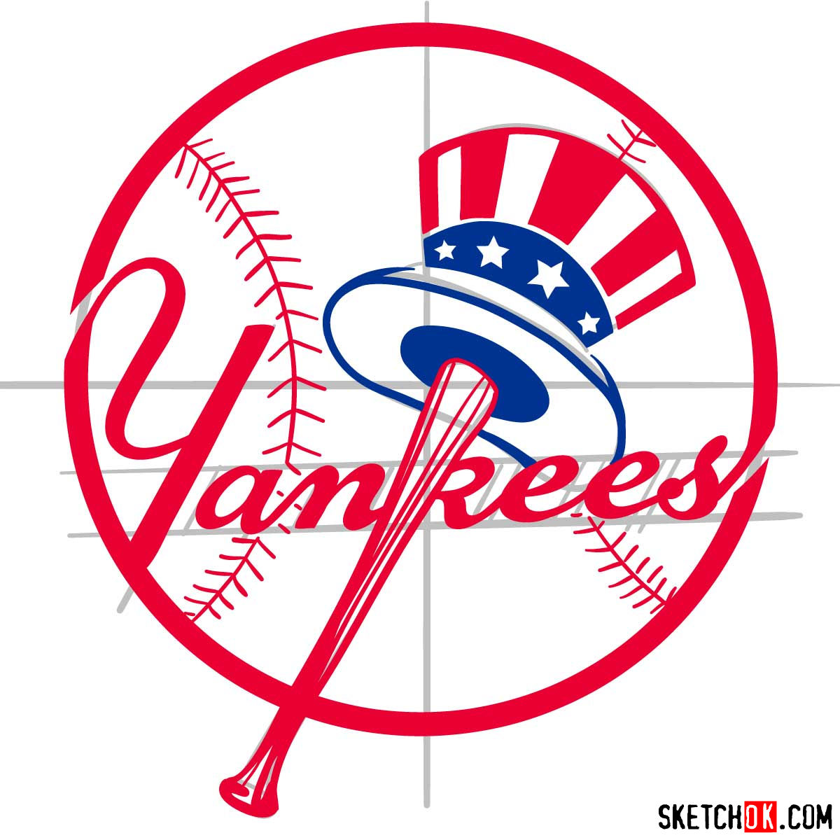 How to draw New York Yankees logo | MLB logos - step 12