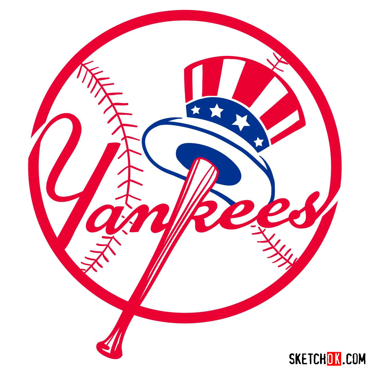 How to draw New York Yankees logo | MLB logos